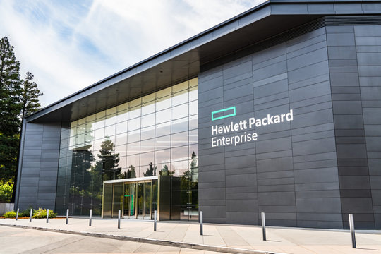 August 5, 2019 Palo Alto / CA / USA - Hewlett Packard Enterprise (HPE) corporate headquarters located in Silicon Valley; HPE is an American multinational enterprise information technology