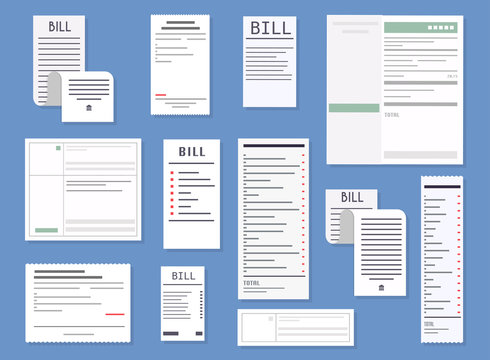 Vector realistic receipts, bills, commercial checks. Paying bills. Payment of utility, bank, restaurant and other bills. Flat design modern vector illustration concept.