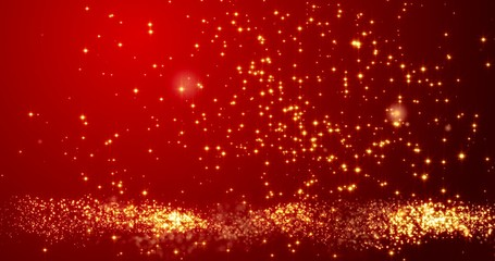 Golden confetti bokeh lights on the red background. 3d render