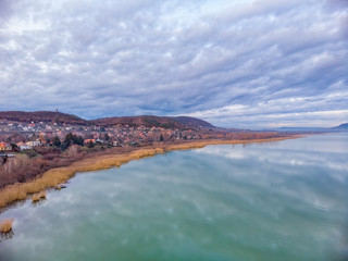 Nice clouds reflection on lake Balaton in Hungary, drone picture