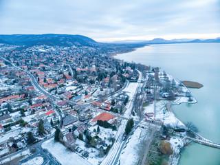 Aerial winter sunset landscape from Hungarian village Balatongyorok, Lake Balaton in Hungary