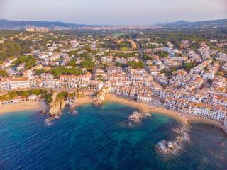Drone picture over the Costa Brava coastal, small village Calella de Palafrugell of Spain