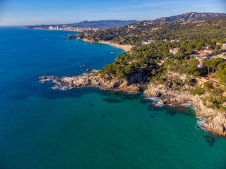 Drone picture over the Costa Brava coastal near the small town Palamos of Spain