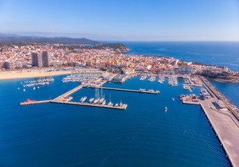 Aerial drone picture from small Spanish town Palamos in Costa Brava
