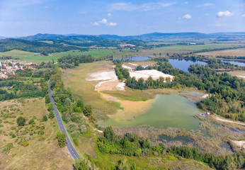 Aerial drone picture from lakes near lake Balaton of Hungary, near village Salfold
