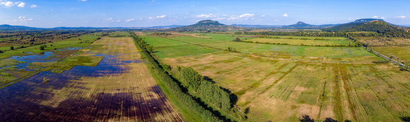 Aerial agricultural picture with volcanoes from Hungary, near the lake Balaton