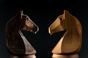 close view of white and black chess knights facing on blackground.