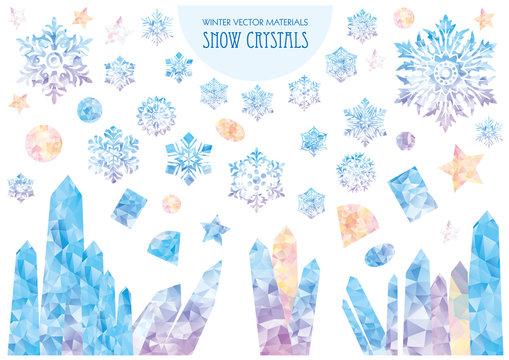 Snow crystals. Cool snowflake. Winter vector materials.