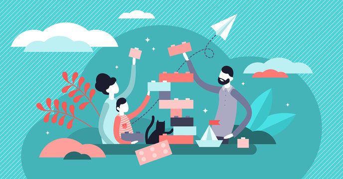 Family play vector illustration. Tiny togetherness activity persons concept