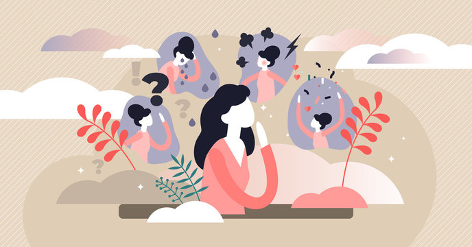 Feelings vector illustration. Flat tiny behavior expression persons concept