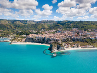 Aerial view of beautiful town of Tropea in Calabria, Italy