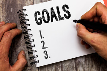Text sign showing Goals. Conceptual photo persons ambition or effort aim desired result Sport match...