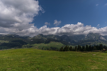 Hiking through swiss alps on a sunny day with blue sky near toggenburg