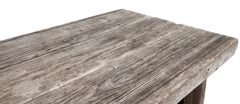 Perspective view of old wood or wooden table corner on white background including clipping path