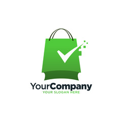 Check mark shopping secure logo template