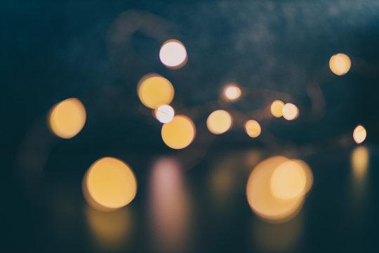 bokeh of golden string lights backgroung shot