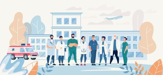 Professional Medical Team Staff in Clinic Yard