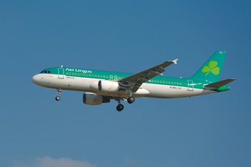BUDAPEST, HUNGARY - MAY 27: Airliner of AerLingus approaching Budapest Liszt Ferenc Airport, May 27th 2015. AerLingus is Ireland's largest airline.