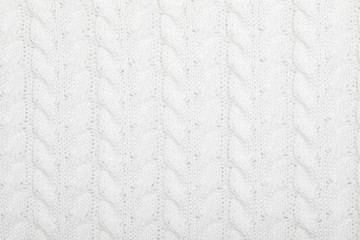 White cable knitting fabric textured background