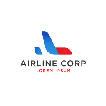 Modern gradient red and blue airplane logo template