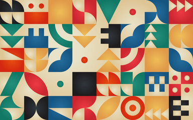 Geometric retro pattern with 30s styled shapes Wall mural