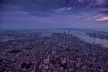 Wall Mural - Aerial view of New York city. Dark photo in the evening.