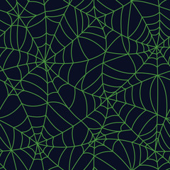 Green Organic Spider Web Halloween Seamless pattern