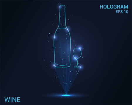 Hologram wine. A holographic projection of the bottle and the glass. Flickering energy flux of particles.