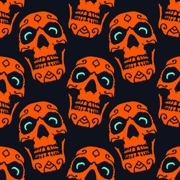 Spooky Orange Skull with Blue Eyes Halloween Seamless Pattern