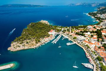 Fototapeta An aerial view of Makarska, a beautiful city located in Croatia