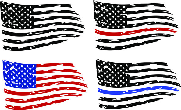 Distressed american flags eps10 Clip Art, Distressed american flags set, eps10, transparent background, high resolution. Firefighter  and police flags.