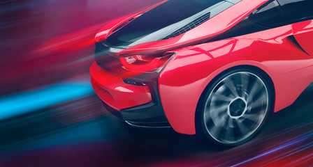 Futuristic high speed sports car in motion (3D Illustration)