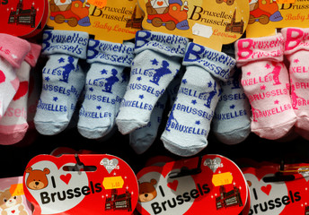 Baby socks with Manneken Pis pattern are displayed for sale in one of the souvenir shops in Brussels