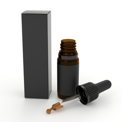 Black Dropper bottle mockup. CBD dropper bottle. Serum dropper botlle. Vape liquid in brown glass...
