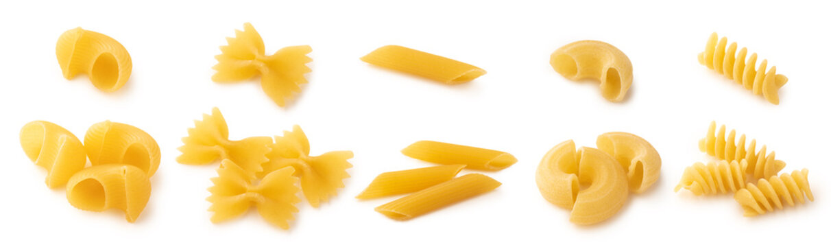 Different types of pasta on white background isolated