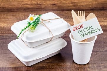 Biodegradable food box with Stop Global Warming tag.