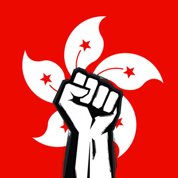 Hong Kong Revolution Poster. Protest for freedom and democracy design.