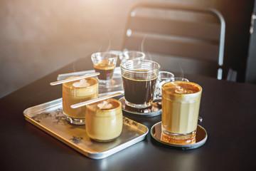 Hot coffee in coffee shop.