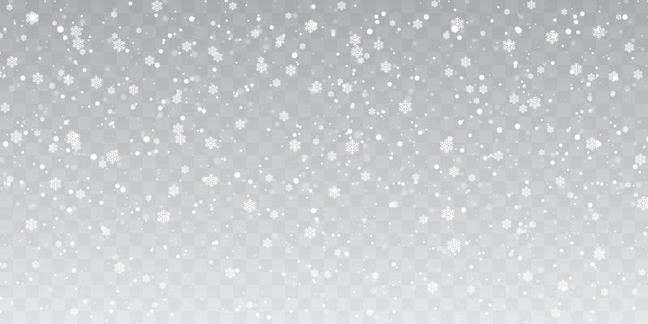 Christmas snow. Heavy snowfall. Falling snowflakes on transparent background. White snowflakes flying in the air. Vector illustration