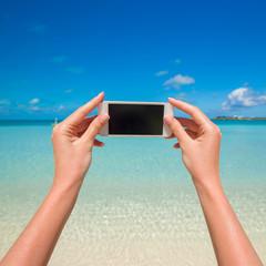Close up phone background turquoise sea on wxotic resort