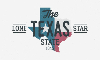 Wall Mural - Texas State logo, poster. The Lone Star State. Print for T-shirt, typography. USA Texas flag map vintage design. Vector illustration