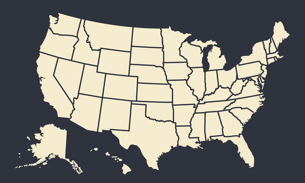 USA map with states isolated on a black background. United States of America blank map template. Vintage US background. Vector illustration