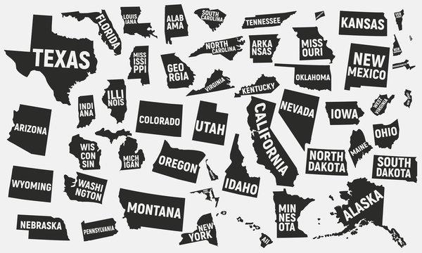 Set of 50 United States icons. United States of America icons isolated on white background. Vector illustration