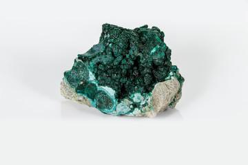 Macro mineral stone Malachite against white background