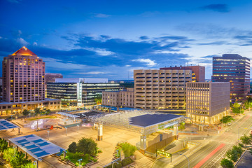 Fototapete - Albuquerque, New Mexico, USA Cityscape and Plaza