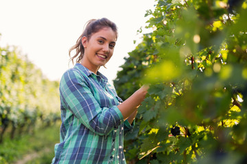 Portrait of young woman working in vineyard Fototapete