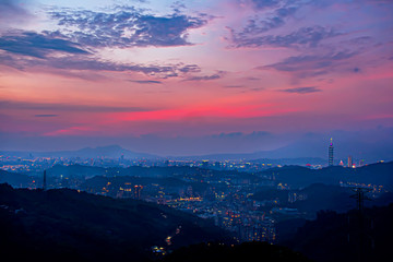 Wall Mural - View Taipei City landscape during sunset time.