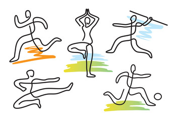 Sport icons lineart. Lineart stylized fitness sport symbols. Vector available.