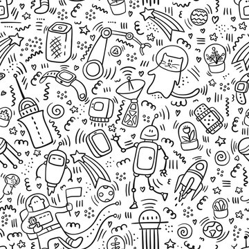 Seamless pattern space doodles outline. Robot and Technic doodles. Future concept with astronaut, planets,spaceships, stars, planets, robots, plants, cat. Universe concept. Astronaut doodle. Set of sp