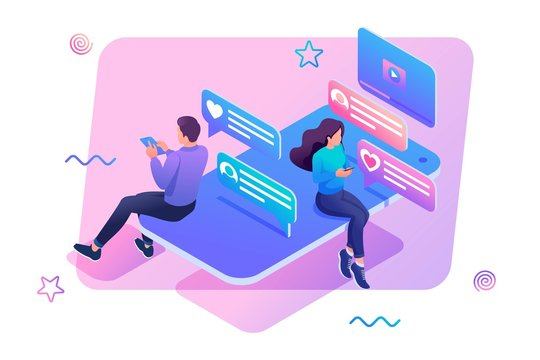 Isometric concept smartphone and social networks for teenagers a way to stay in touch with loved ones. Concept for web design
